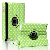 SAVEICON 360 Degree Rotating Magnetic Polka Dot PU Leather Case Smart Cover With Swivel Stand For Apple iPad 4th Generation Retina Display / the new iPad 3 / iPad 2 (Wake/sleep Function) (Green)