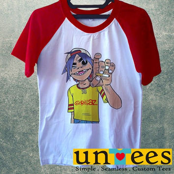 Women's Short Sleeve Raglan Baseball T-shirt - Gorillaz design