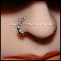 Tiny Beads Sterling Catchless / Seamless Nose Ring - CUSTOMIZE