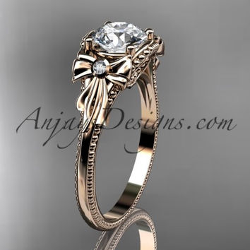 "14k rose gold diamond unique engagement ring with a ""Forever One"" Moissanite center stone ADLR376"
