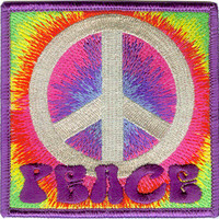 Peace Sign Iron-On Patch Square Psychedelic Logo