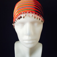 Traditional fabric stripped cloth adult woman red authentic fancy headband headscarf headwrap hairband beads hair accessory fashion modern