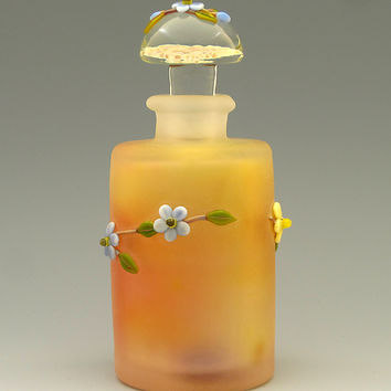 Pastel with Forget me nots by Chris Pantos: Art Glass Perfume Bottle | Artful Home
