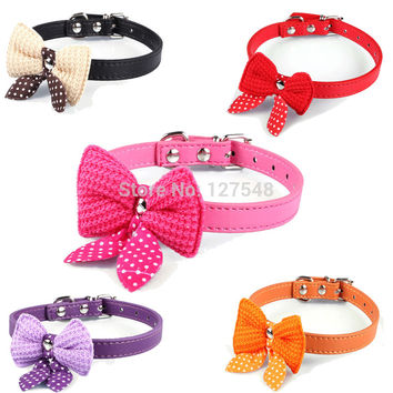 Bowknot Adjustable Leather Dog Cat Collar Size XS S M
