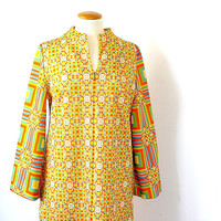 Caftan Dress - Maxi Dress - Hostess Dress - Yellow Kaftan Dress - Hostess Gown - 1960s Dress -Geometric Print - Gossard  Loungewear -Vintage