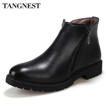 Men's Solid Side Zip Ankle Boots Men Handmade PU Leather Shoes
