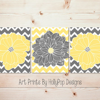 Yellow Gray Wall Art Floral Burst Home Decor Chevron Flower Dahlia Pictures Bedroom Wall Art Modern Bathroom Wall Art Set of 3 Prints #1064