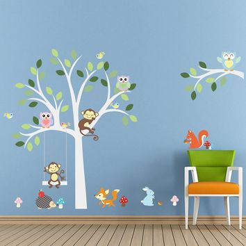 Wise Fox squirrel monkey owls on white tree wall stickers for kids room love birds Wall Decal Vinyl Sticker Nursery room decor