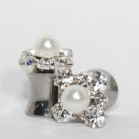 Diamond And Pearl Wedding Plugs 4  2  0 Gauge 5mm 6mm 8mm 4G 2G 0G