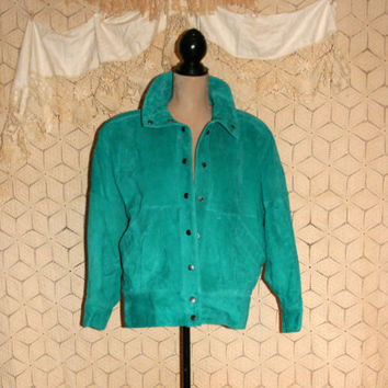 Bomber Jacket Vintage 80s Hipster Jacket Teal Suede Bomber Jacket Turquoise Suede Leather Bomber Jacket 1980s Hipster Clothing Womens Jacket