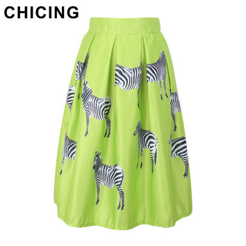 CHICING Candy Color Summer 2016 Saias Skirts Fashion Brand Animal Zebra Print High Waist Ball Gown Tutu Skirts  Women A048968
