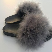 Dark Grey Fur Slides Fuzzy Slides Gifts For Her Furry Slippers