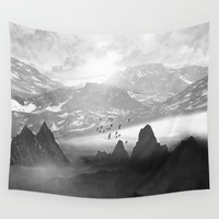 Black and White - Winter. Melody... Wall Tapestry by Viviana Gonzalez