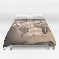 Adventure is out there. Stars world map. Sepia Duvet Cover by Guido Montañés