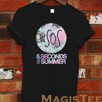 New 5 Second of Summer Galaxy Logo T Shirt Tee Black and White Unisex Shirt - SO1