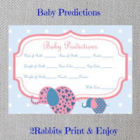 Pink Elephant Girl Baby Shower - Baby Predictions - Printable Baby Shower Cards- Instant Digital Printable - Light Blue Polka Dot