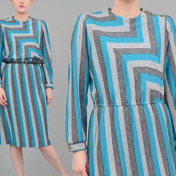 80s Striped Dress Jersey Knit Dress Chevron Stripe Dress 1980s Long Sleeve Retro Midi Dress Turquoise Gray Black Medium M
