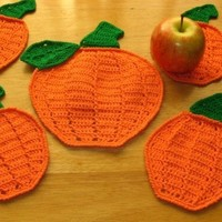 Fall Harvest Pumpkin Coaster Set - 5 pieces - Textured Crochet