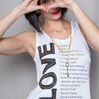Love Nation Love Manifesto Graphic Tank Top With Key Necklace - White