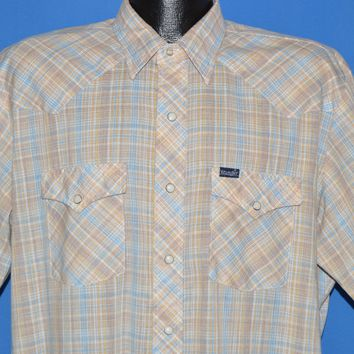 80s Wrangler Brown Blue Plaid Western Shirt Extra Large