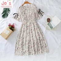 Summer Chiffon Print Women Kawaii Dress Mid-Calf Flare Sleeve Empire V-Neck Office Vintage Party Dress Vestidos Cute Clothing