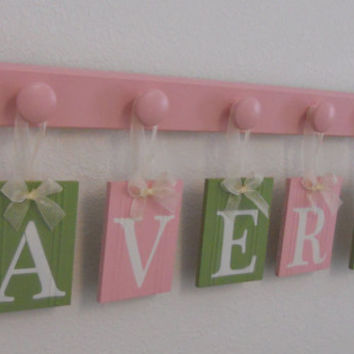 Nursery Decorations Wooden Letters. Set Includes 5 Pegs and Custom Baby Name AVERY Painted Light Green and Pink Personalized Baby Gift