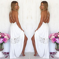 Sexy Women Maxi Long Lace Cocktail Evening Party Dress Summer Beach Backless Dress = 1932283268