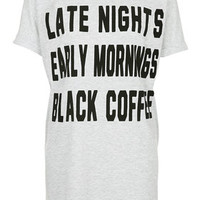 Late Night Slogan PJ Tee - Grey Marl