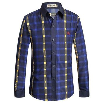 DCCKN6V BURBERRY  Men's Casual Stripes Plaid Long Sleeved Shirt G-A00FS-GJ