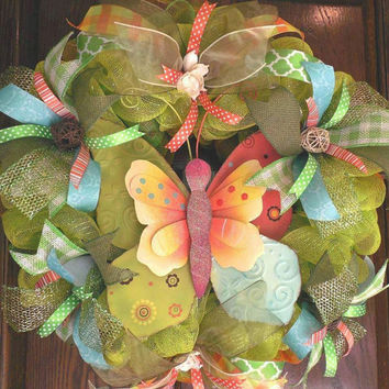 Summer Deco Mesh wreath, Wreaths,  Spring, Butterfly wreath, Summer, Mesh, Garden wreaths, Butterflies, Spring decor, Green, Large wreath