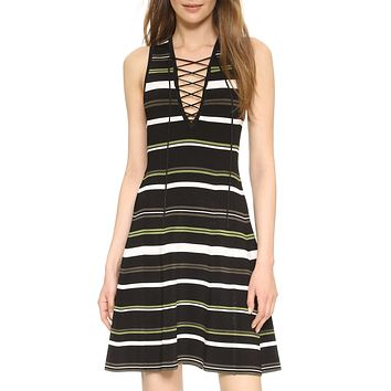 Zissel Striped Lace Up Dress