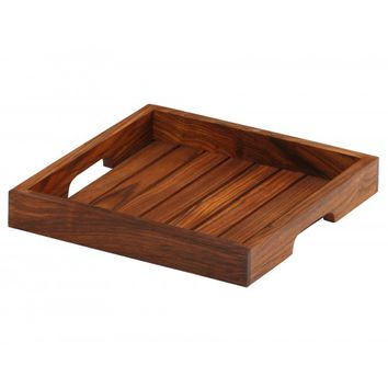 """Hearty Treatments – Handmade 10"""" Wooden Square Serving Tray with Lines in Brown"""