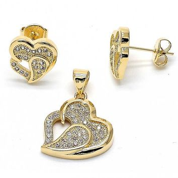 Gold Layered Earring and Pendant Adult Set, Heart Design, with Micro Pave, Gold Tone