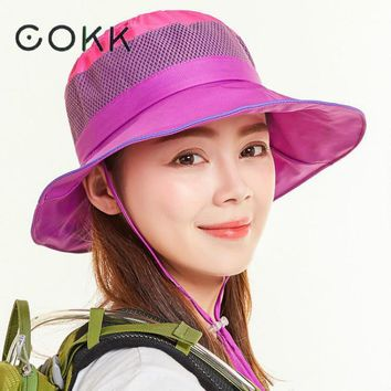 COKK Summer Hats For Women Men Bucket Hat With Windproof Rope Sun Hat Outdoor Sunscreen Fishing Hat Female Male Cap Uv Protect