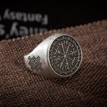 1pc Viking Vegvisir Rings Runes Symber Signet Runic Ring Norse Knot Anel Bague Men Jewelry