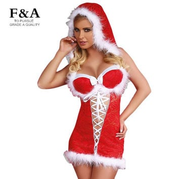 Red Christmas Adults Costume Sexy Party Mini Dress With Feather Christmas Snow Baby Hooded Dress Costume Lace up Festival Dress