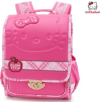 New Hello Kitty English children schoolbag girl Cartoon Backpack Children school schoolbag Suitable for 6~12 years old kids bag