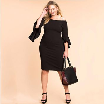 2017 Autumn 5xl 6xl Women Dress Ruffles Sexy Party Dresses Off Shoulder Bodycon Bandage Dress Plus Size Women Clothing Vestidos