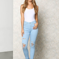 Light Blue Distressed High Rise Skinny Jeans