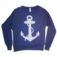 Happy Family Nautical Anchor American Apparel Womens (Juniors) Long Sleeve Raglan Sweatshirt (Small, Navy)