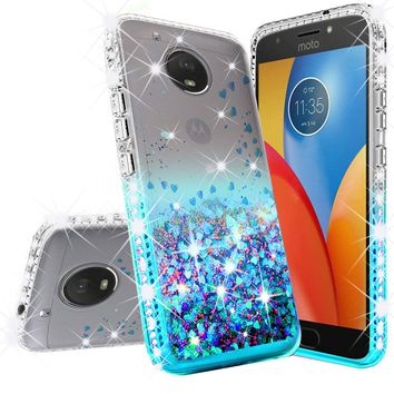 Motorola Moto E4 Case Liquid Glitter Phone Case Waterfall Floating Quicksand Bling Sparkle Cute Protective Girls Women Cover for Moto E4 - Teal