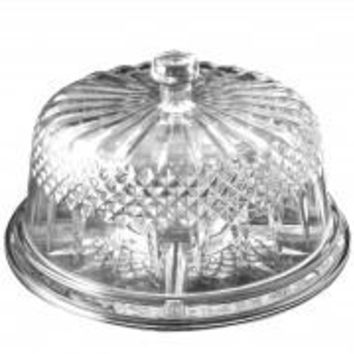 Gibson Home Jewelite Serveware Platter Multifunction Cake Plate with Dome, Clear Dome
