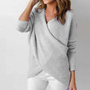 Fashion 2018 Sweater Woman Knitted Sweaters Pullovers Winter Autumn V-neck Long Sleeve Solid Pullover Women Clothes Sweaters