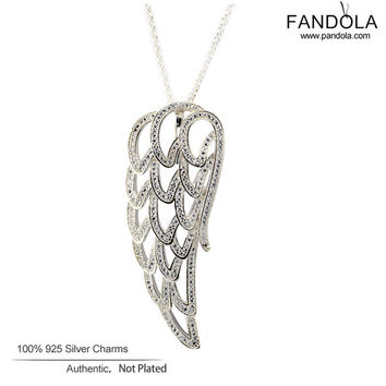 Angel Wing Necklaces 925 Sterling-Silver-Jewelry Openwork Clear CZ Necklace Pendant for Women Pandulaso Jewelry 90cm