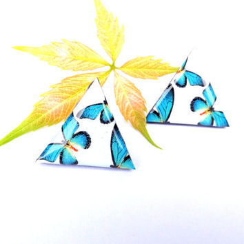 Turquoise butterfly stud earrings, Turquoise jewelry, Turquoise earrings, Turquoise Butterfly, Butterfly, Triangle, Triangle earrings, Gift