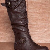 Anne Michelle Renegade Rock Ruched Mid Calf Two Buckle Strap Boots Montage-02n - Brown
