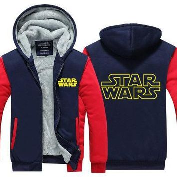 New Winter Jackets and Coats film Star Wars hoodie Darth vader Hooded Thick Zipper Men cardigan Sweatshirts cosplay STARWARS