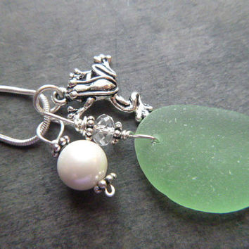 Green Sea Glass Necklace Frog Beach Glass Jewelry Sterling Pendant Charm
