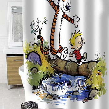 calvin and hobbes Custom Shower Curtain Funny Shower Curtain size 36x72,48x72,60x72,66x72