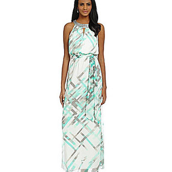 Vince Camuto Beadneck Splash Maxi Dress - Print